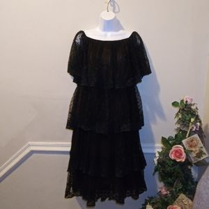 Vtge Marita By Anthony Muto Blk Lace Tiered Dress